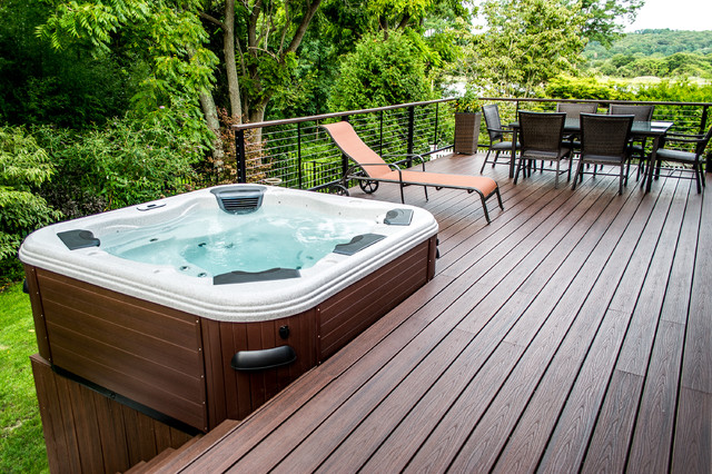 Bullfrog Spas Patio Contemporary with Bullfrog Spas Cable Rail