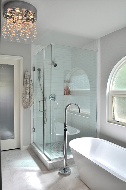Bullnose Tile Bathroom Contemporary with Arched Window Ceiling Light
