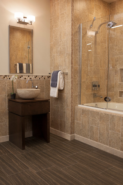 Bullnose Tile Bathroom Contemporary with Beige Ceramic Wall Tile