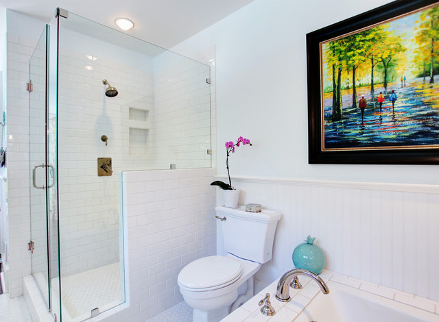 Bullnose Tile Bathroom Transitional with Artwork Beadboard Wainscoting Frameless