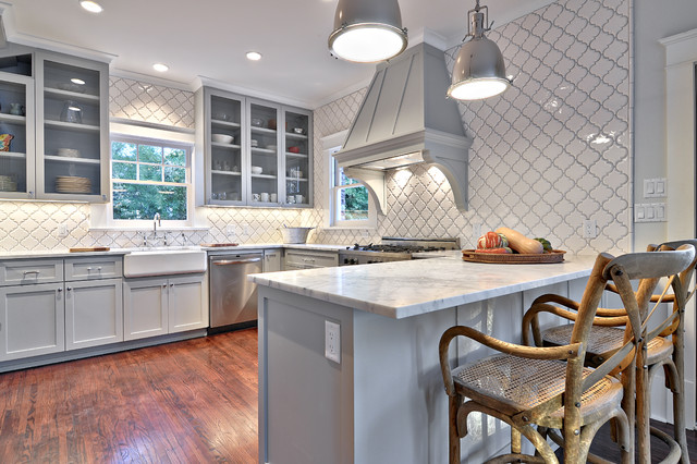 Bullnose Tile Kitchen Traditional with Arabesque Tile Carrara Marble