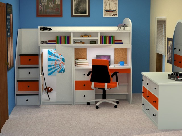 Bunk Bed Desk Combo Kids Modern with Bright Kids Space Bunk4