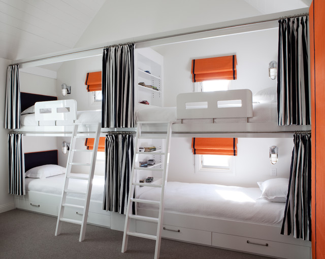 Bunk Bed with Desk Underneath Bedroom Contemporary with Black and White Built In