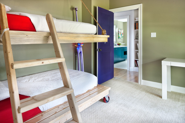 Bunk Bed with Desk Underneath Kids Contemporary with Architecture Austin Bedroom Blue