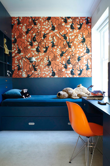 Bunk Bed with Desk Underneath Kids Contemporary with Blue Painted Cabinets Built In