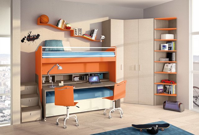 Bunk Bed with Desk Underneath Kids Contemporary with Bunk Beds Faer Freestanding