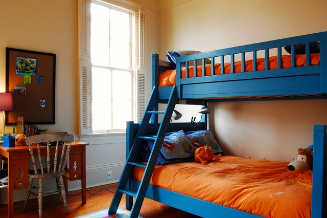 Bunk Bed with Desk Underneath Kids Traditional with Beige Wall Blue Bunk