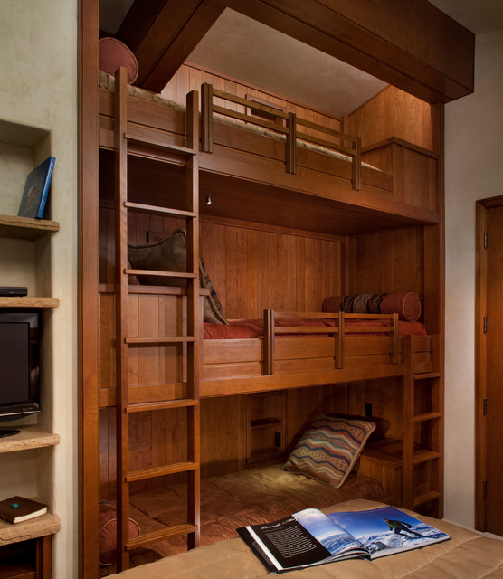 bunk beds for adults Bedroom Contemporary with beige wall brown bedding