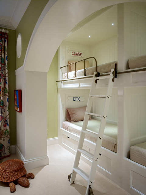 Bunk Beds for Adults Kids Traditional with Arch Archway Beadboard Bedroom1