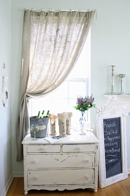 Burlap Curtains Dining Room Shabby Chic with Bar Blackboard Dining Buffet