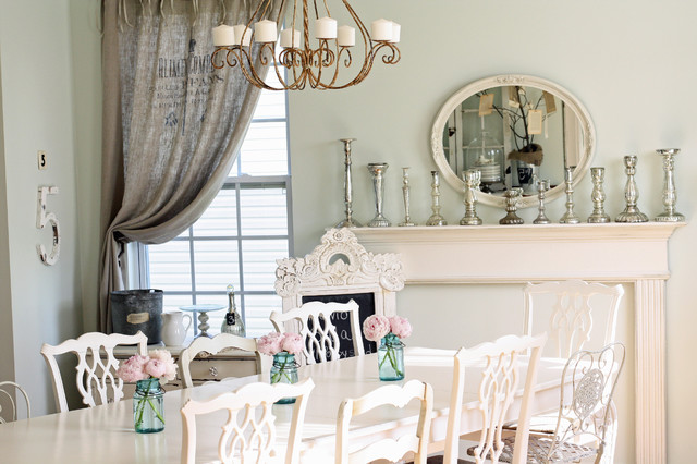 Burlap Curtains Dining Room Shabby Chic with Centerpiece French Iron Chandelier