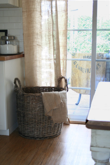 Burlap Curtains Dining Room Traditional with Burlap Grain Sack Wicker