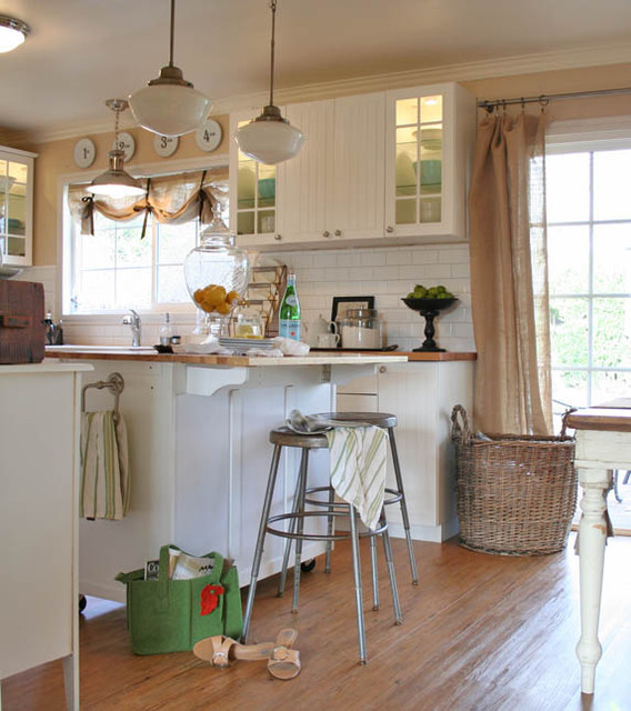 Burlap Curtains Kitchen Traditional with Apothecary Basket Beadboard Burlap