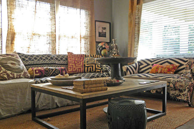 Burlap Curtains Living Room Eclectic with Antique Bohemian Burlap Curtain