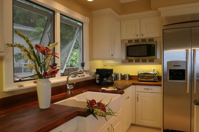 Butcher Block Counter Tops Kitchen Contemporary with Apron Sink Awning Windows