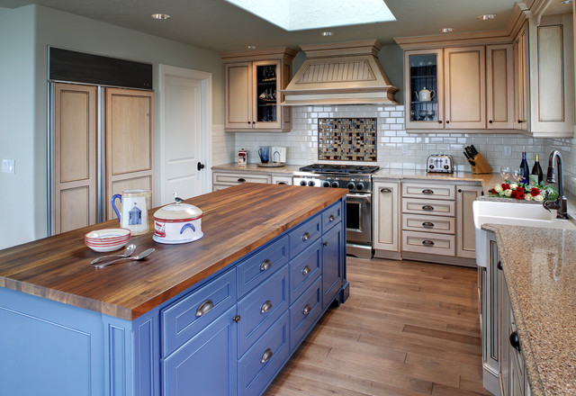 Butcher Block Counter Tops Kitchen Traditional with Apron Sink Blue Blue
