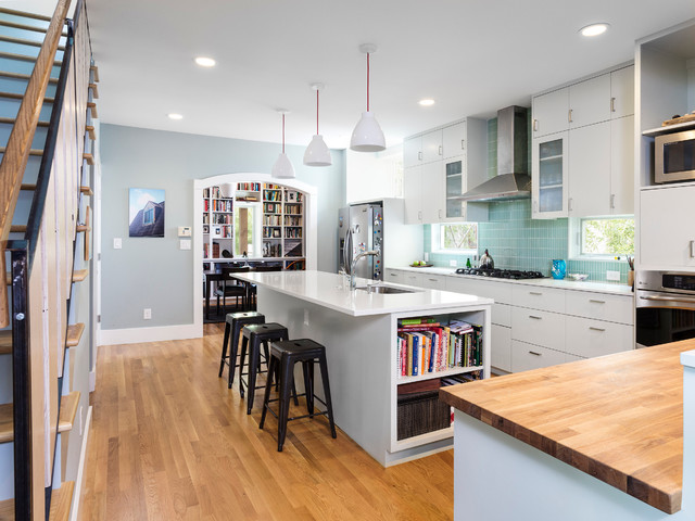 Butcher Block Countertops Kitchen Contemporary with Arch Archway Black Bar
