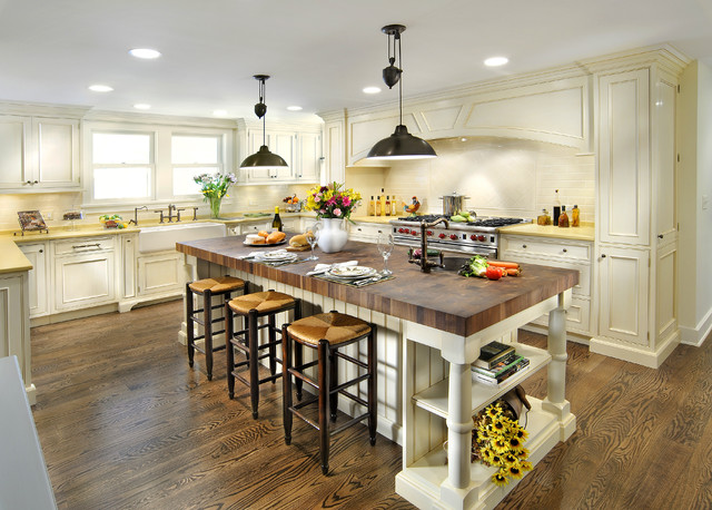 butcher block countertops Kitchen Traditional with apron sink bar stools