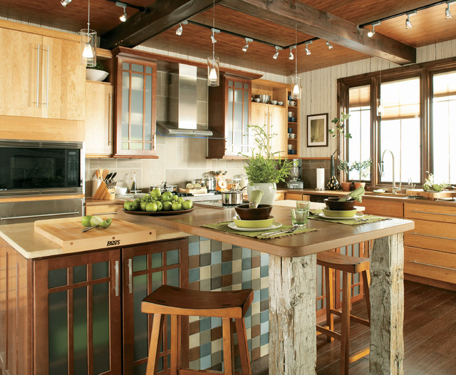 Butcher Block Cutting Board Kitchen Contemporary with Asian Inspired Stools Bar