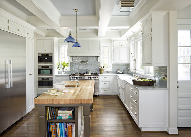 Butcher Block Island Kitchen Traditional with Ann Sacks Backsplash Beams1