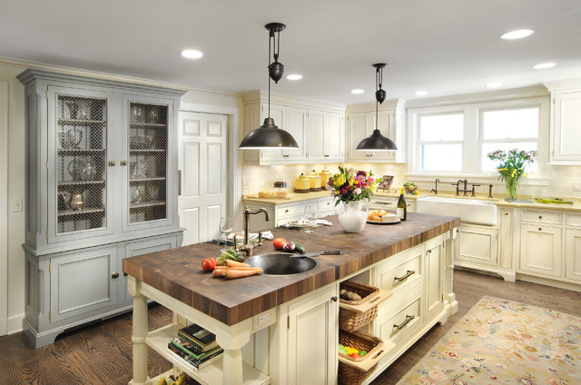 Butcher Block Island Kitchen Traditional with Apron Sink Bar Stools1
