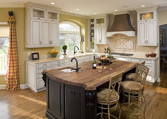 Butcher Block Island Kitchen Traditional with Baseboards Breakfast Bar Butcher