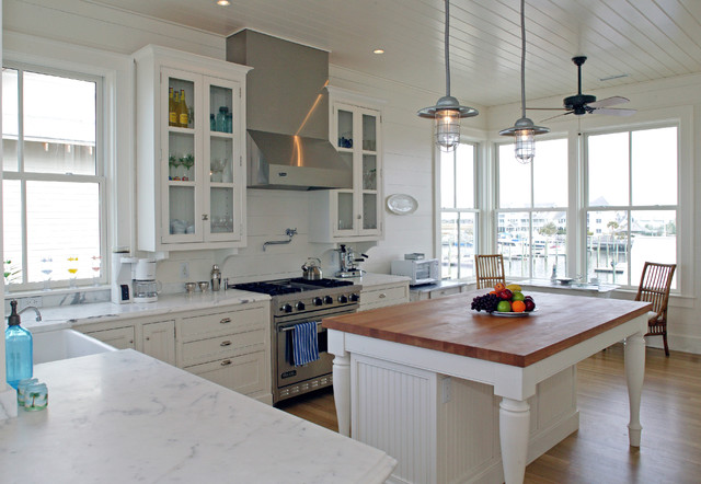 Butcher Block Island Kitchen Traditional with Ceiling Fan Eat in Kitchen