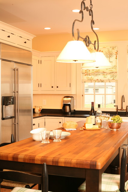 Butcher Block Kitchen Island Kitchen Traditional with Black Cabinets Black Countertops