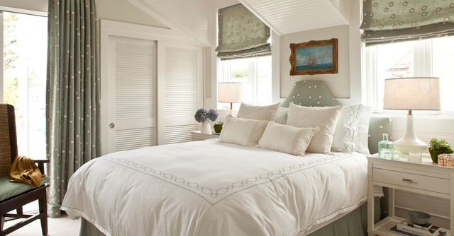 bypass closet doors Bedroom Beach with armchair bed skirt beige