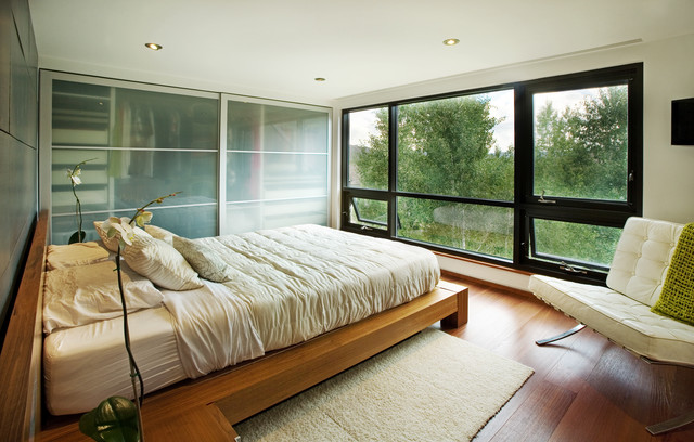 Bypass Closet Doors Bedroom Modern with Awning Window Beige Bedding