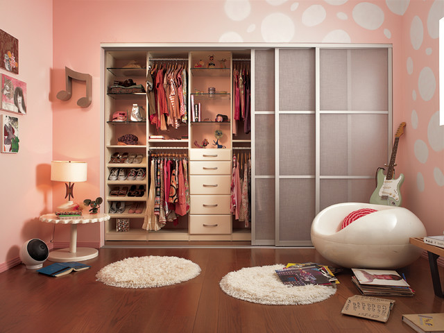 Bypass Closet Doors Kids Contemporary with Clothes Storage Girls Room