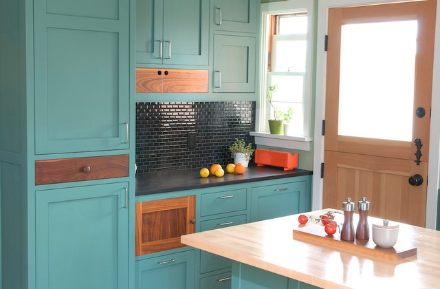 Cabinet Refacing Cost Kitchen Contemporary with Aqua Cabinets Black Countertop