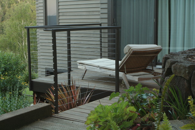 Cable Railing Patio Modern with Balcony Black Metal Railing