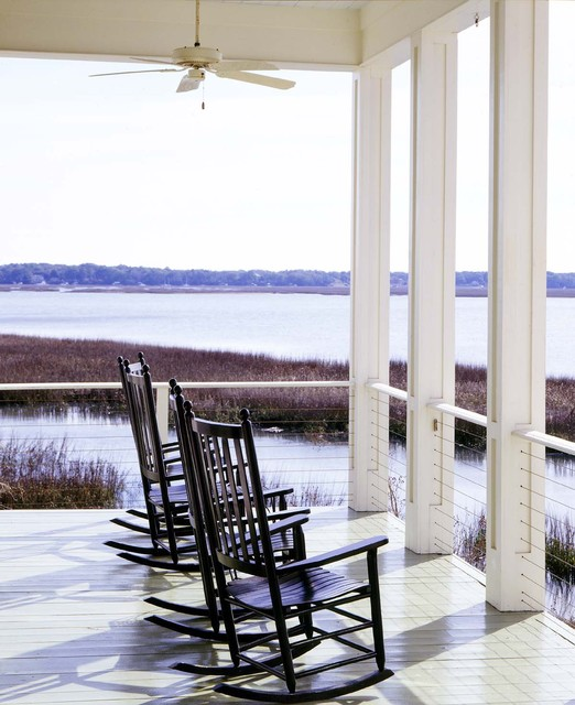 Cable Railing Porch Beach with Ceiling Fan Coastal Deck