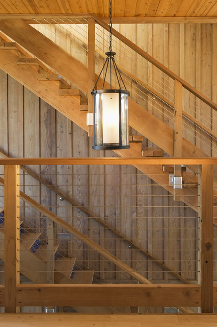 Cable Railing Staircase Contemporary with Agrarian Contemporary Barn Traditonal