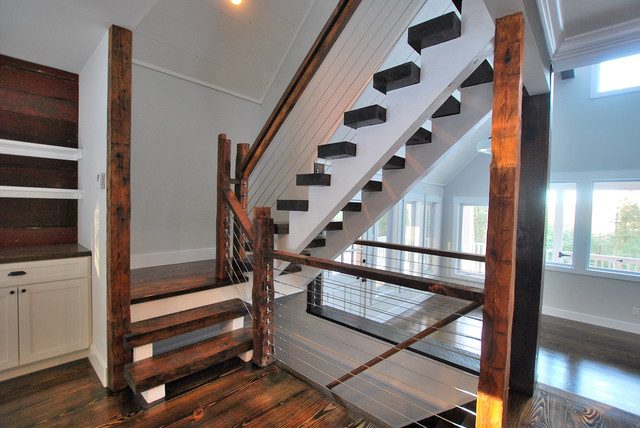 Cable Railing Staircase Rustic with Built in Cabinets Cable