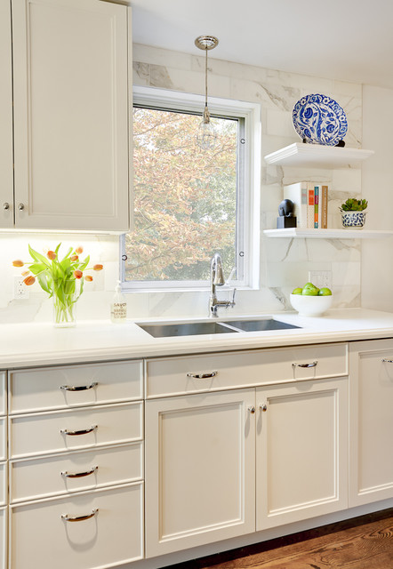 caesarstone colors Kitchen Contemporary with bare bulb pendant cabinets