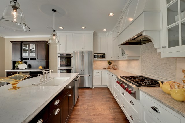 Caesarstone Colors Kitchen Traditional with Bell Pendants Buffet Crown