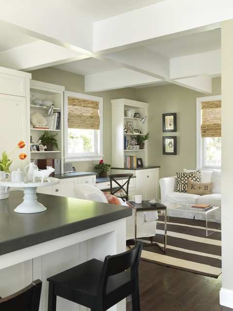 Caesarstone Colors Living Room Transitional with Bookcase Bookshelves Breakfast Bar