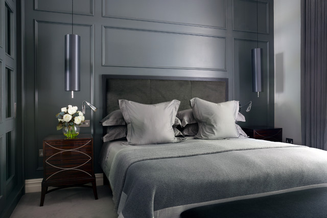 Cal King Bed Frame Bedroom Contemporary with Bedside Pendants Contemporary Bedroom