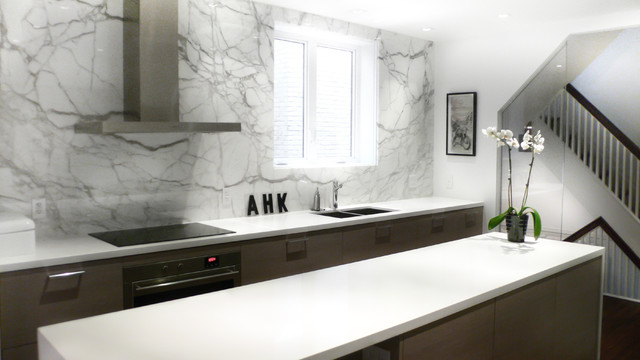 Calacatta Marble Kitchen Contemporary with Calacatta Marble Cararra Cooktop