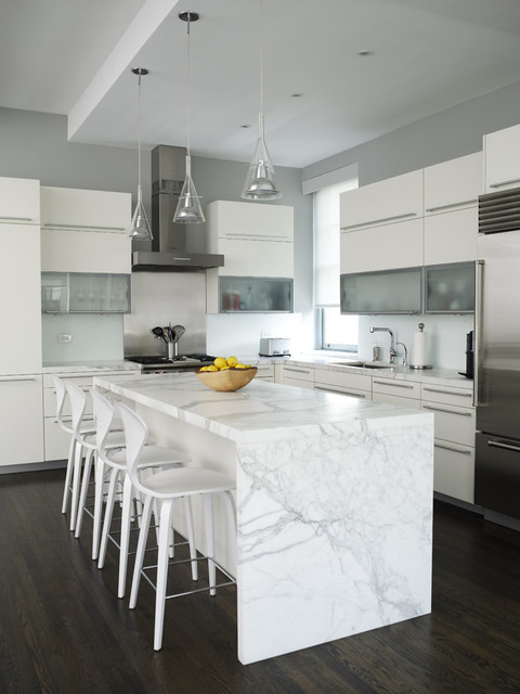 Calacatta Marble Kitchen Contemporary with Bar Stool Calacatta Marble