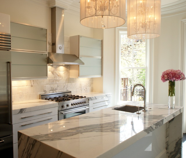 Calacatta Marble Kitchen Transitional with Floral Arrangement Island Lighting