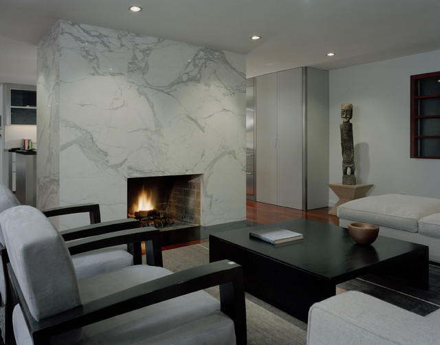 Calacatta Marble Living Room Contemporary with Black Coffee Table Fireplace