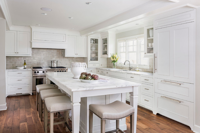 Calcutta Marble Kitchen Traditional with All Clad Ashley Norton Hardware