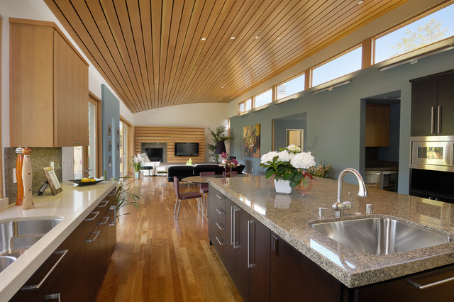 Caledonia Granite Kitchen Contemporary with Ceiling Lighting Clerestory Windows