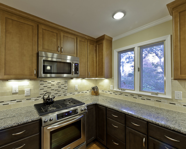 Caledonia Granite Kitchen Eclectic with Brushed Nickel Pulls Caledonia