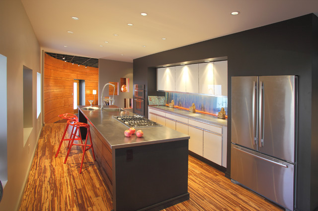 Cali Bamboo Flooring Kitchen Contemporary with Breakfast Bar Ceiling Lighting