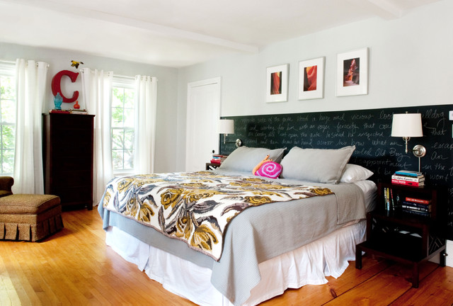 Cali King Bed Frame Bedroom Eclectic with Bedside Table Bedskirt Chalkboard