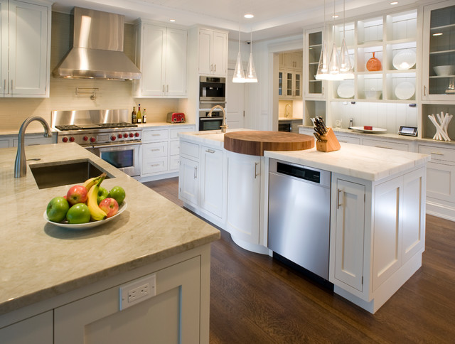 Cambria Countertops Kitchen Traditional with Beachy Butcher Block Cabinetry